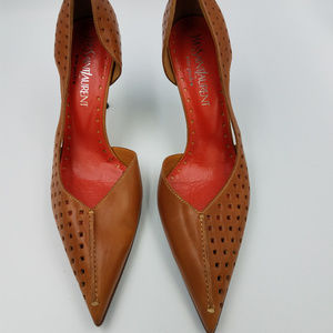 Authentic YSL Tan Leather Stacked Heels Size 10